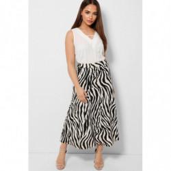 Beige Black Pleated Zebra...