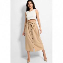 Beige Button Down Midi Skirt