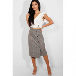 Beige Dogtooth Check Print...
